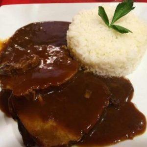 Rico Asado negro con arroz